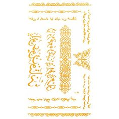 """Spestyle Adult temporary tattoos Golden tattoo 4.92""""x2.56"""" India and Middel Eastern India Design Style Ancient language and butterflies and totem >>> Want to know more, click on the image. (This is an affiliate link) #TemporaryTattoos"""