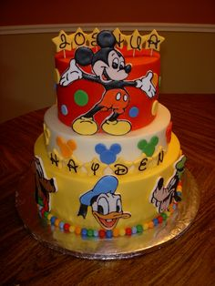 Mickey Mouse Cake with Goofy, Donald, and Pluto