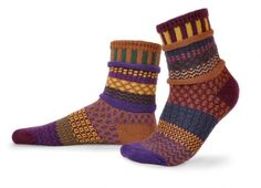 Solmate Socks - Mismatched Crew Socks; Made in USA; Fall Foliage Medium - Brought to you by Avarsha.com
