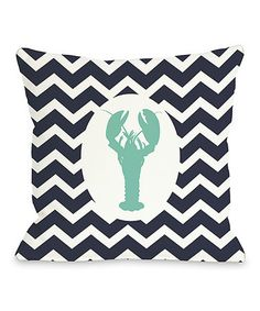 Loving this Navy Zigzag Lobster Throw Pillow on #zulily! #zulilyfinds