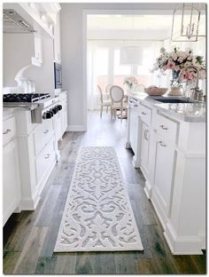 Are you looking for inspiration for farmhouse kitchen? Check this out for very best farmhouse kitchen images. This kind of farmhouse kitchen ideas looks completely wonderful. Kitchen Rug, Home Decor Kitchen, Interior Design Kitchen, Diy Kitchen, Home Kitchens, Kitchen Ideas, Awesome Kitchen, White Kitchen Decor, White Cabinet Kitchen