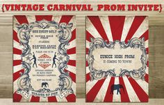 Vintage Carnival Prom / Farewell/ Dance Invite ( INSTANT DOWNLOAD Gorgeous Circus Invite Printable) Red, Blue and White via Etsy