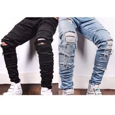 Men Fashion Outfit Distressed Ripped Denim Jeans Black Blue By TaintedNY…