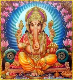 GANESH ॐ Arte Shiva, Shiva Art, Sri Ganesh, Lord Ganesha, Gayatri Devi, Ganesh Chaturthi Images, Ganesha Pictures, Vintage Calendar, Ganpati Bappa