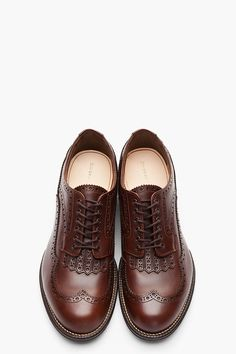 AUTHENTIC SHOE // BROWN LEATHER LONGWING BLIND BROGUES.