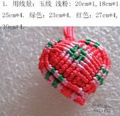 Art: HEART VOLUME (RED AND GREEN)...A beautifully done macrame heart!...picture tutorial!