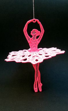 Lace Ballerina ornament,  machine embroidered, ready to hang by rubeesew on Etsy https://www.etsy.com/listing/257153505/lace-ballerina-ornament-machine