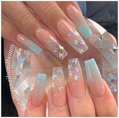 Acrylic Nails Glitter Ombre, Acrylic Nails Coffin Pink, Long Square Acrylic Nails, Blue Ombre Nails, Coffin Nails, Colored Acrylic Nails, Baby Blue Nails, Coffin Acrylics, Glitter Acrylics