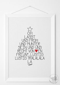 Lasst uns froh und munter sein .. Christmas Print / Salt & Paper Christmas Is Coming, Winter Christmas, Christmas Time, Merry Little Christmas, Christmas Presents, Merry Christmas, Xmas 2015, Handmade Christmas, Xmas Decorations