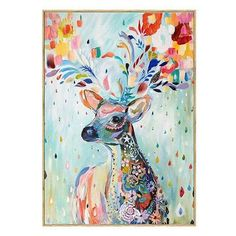 Modern Abstract Elk Deer Canvas Painting Frameless Wall Art Bedroom Living Room Home Decor