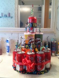 Creative way to give teen's money for a gift!! Coke Cake.  (Sorry for the bathroom pic, needed a counter space my 19 year old wouldn't see!!)