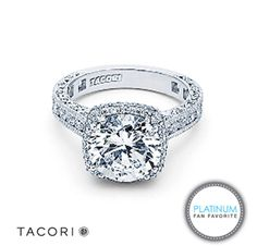 Tacori platinum engagement ring featuring a cushion style diamond halo, channel-set diamonds, and a crescent silhouette #platinumfanfavorite #vintagestyle