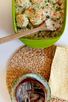 chicken pot pie + cream cheese and chive biscuits