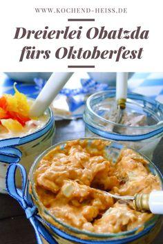 Dreierlei Obatzda mit Tomaten, Paprika und Preiselbeer-Walnuss. Toll in der kalten Jahrenzeit und vorallem jetzt zum Oktoberfest!