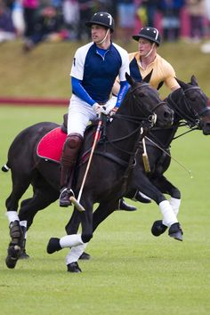 Princes William and Harry play a game of polo at Beaufort Polo Club in Gloucestershire.
