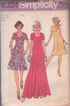 MOMSPatterns Vintage Sewing Patterns - Simplicity 6334 Vintage 70's Sewing Pattern AMAZING Curved Panels SWIRL SKIRT Disco Era Party Dress, Boho Maxi Gown Size 12