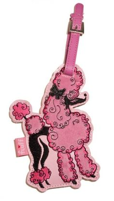 Pink poodle luggage tag ... one of my favorite poodle tchotchkes