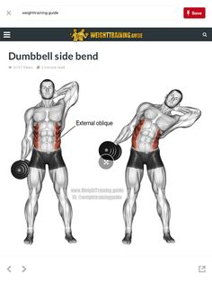 An isolation exercise. Target muscles: Internal and External Obliques. Synergistic muscles: Quadratus Lumborum Psoas Major Iliocastalis Lumborum and Iliocastalis Thoracis (all of which are deep core muscles). Note: Keep the dumbbell Oblique Workout, Dumbbell Workout, Deltoid Workout, Workout Abs, Kettlebell Training, Weight Training Workouts, Best Dumbbell Exercises, Arm Exercises, Stomach Exercises
