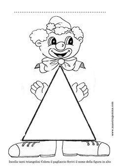 Schede figure geometriche Preschool Printables, Preschool Kindergarten, Preschool Crafts, Clown Crafts, Carnival Crafts, Mathematics Geometry, Teaching Geometry, Infant Activities, Math Activities