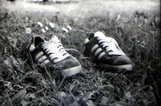 Old sneakers Adidas Gazelle. Analog photography.