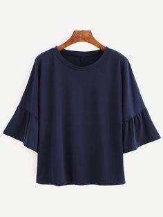 #SheIn - #SheIn Navy Bell Sleeve T-shirt - AdoreWe.com