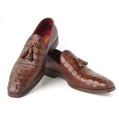 Paul Parkman Men's Brown Crocodile Embossed Calfskin Tassel Loafer (ID#PP2281-BRW)