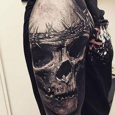 Crown of thorns, by Sandry Riffard. (via IG—audeladureeltattoobysandry) #SandryRiffard #Skulls #Realism #Metal