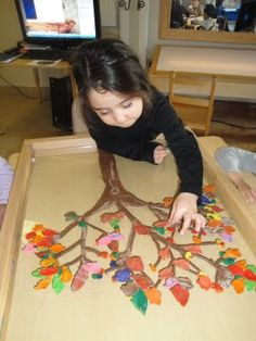 """Exploring the changes in season (playdough """"leaves"""" are created and placed on a """"tree"""")"""