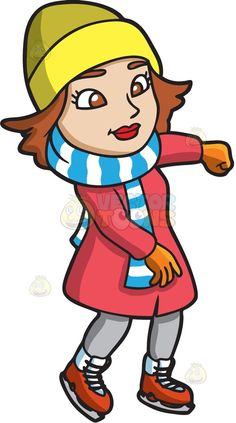 A woman enjoying her time while ice skating :  A woman with brown hair wearing a yellow beanie red long jacket striped blue and white scarf gray pants orange with white ice skates orange gloves smirks while gliding in the ice rink  The post A woman enjoying her time while ice skating appeared first on VectorToons.com.