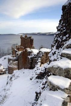 Urquhart Castle in the snow. Hope Nessie doesn't feel the cold... #Scotland #winter