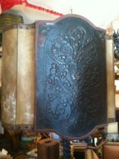 Old World Lampshade ~ Huge Parchment and 18th Century Embossed Leather Using Antique Trims and Nail Heads ~ open back