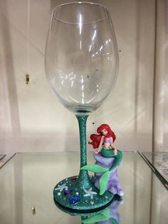 Disney The little mermaid Ariel wine glass by DesignedByDeeUK