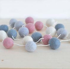 Grey Pink Felt Ball Garland - Baby Nursery - Girl Room - Soft Pastel Colors Decor