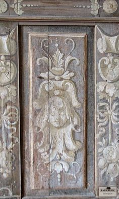 Finding Patina in Paris Museums ~ Musée Carnavalet. Painted detail on boiserie. Painted Paneling Walls, Painted Doors, Trumeau, Gray Chalk Paint, Grisaille, Paint Effects, Mural Art, Murals, Hand Painted Furniture