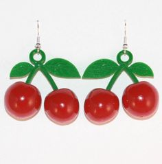 Turn yourself into a fifties pin-up with these cherry earrings. http://stores.ebay.co.uk/Lavish-Accessories #cherry #earrings #kitsch #pinup #50s #rockabilly #kawaii #fruits #meadham #kirchoff #cherries #quirky #jewellery