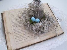 Handmade SPRING Birdnest From Burlap Mosses wood by funkyshique,