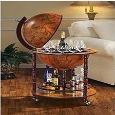 Old World Globe Bar Liquor Wine Storage Stand Italian Replica 16th-Century Map #eHomeProducts