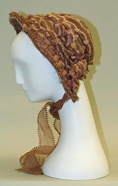 Bonnet  Date: early 1850s Culture: American Medium: silk, wire, cotton