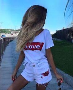Casual Cotton Red Letter Printed Love Shirt Feminist English Letter Love T Shirt - BeFashionova T Shirt Top, Love Shirt, Grunge Outfits, Levis, T Shirt Logo Printing, Harajuku, Kawaii Shirts, Casual Tops For Women, Women's Summer Fashion