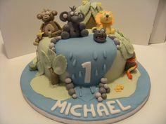 Michael's 1st birthday cake. Xx Bear Cakes, Birthday Cake, Desserts, Food, Tailgate Desserts, Deserts, Birthday Cakes, Essen, Postres
