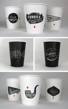 18 different take-away cups:  6 large (black)  6 medium (white) and   6 red.  Every one with an individually hand-drawn illustration.