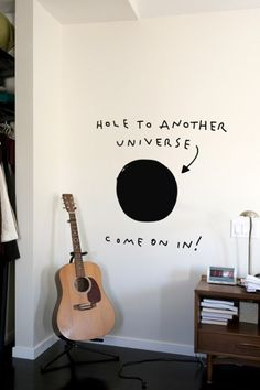 This Hole to Another Universe wall decal was created by Dan Golden and you can purchase it at Blik for $40. The dimensions are: 35.5″ x 33″.
