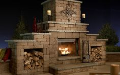 grand outdoor fireplace