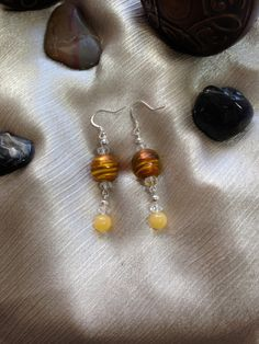 Beaded Earrings, Yellow Stripe, Glass Silver Foil Beads, Dangle Earrings with Vintage Yellow Jade Beads and Swarovski Crystals #bestofEtsy #design