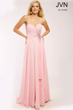 43343850c965c Elegant A Line Strapless Sweetheart Light Pink Chiffon Beaded Long Evening  Prom Dress