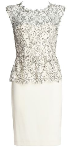 alice + olivia | SHOVAN LACE BODICE PEPLUM DRESS - Leather + Lace - Clothing