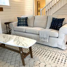 beach living room indigo mudcloth pillows