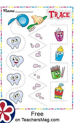 Trace Worksheet Trace the lines around the teeth, toothpaste, and assorted tools used to keep our teeth healthy! Color Worksheets For Preschool, Preschool Themes, Health Activities, Infant Activities, Math For Kids, Lessons For Kids, Dental Kids, Dental Care, Body Preschool