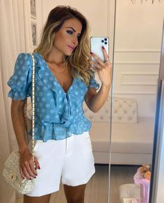 One Shoulder Ruffle Top, Refashion, White Shorts, Short Dresses, Fashion Looks, Rompers, Plus Size, Clothes For Women, My Style