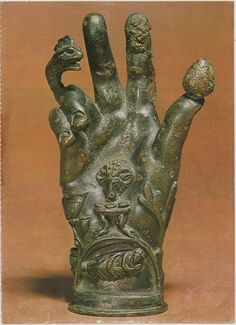 This hand sculpture was used in the worship of the Phrygian deity Sabazios, who was worshiped as a nomadic sky father deity riding on horseback. This hand was likely designed for ritual purposes, meant to be attached to poles for processional use. Show Of Hands, Esoteric Art, Mystique, Palmistry, Dark Art, Magick, Witchcraft, Pagan, Symbols